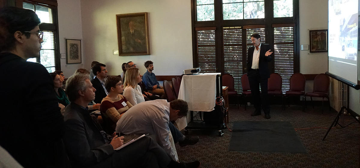 Robert Cervero speaks at a Volvo Transportation Center Symposium