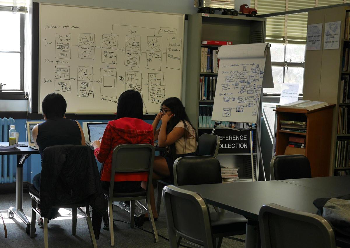 Students at a desk