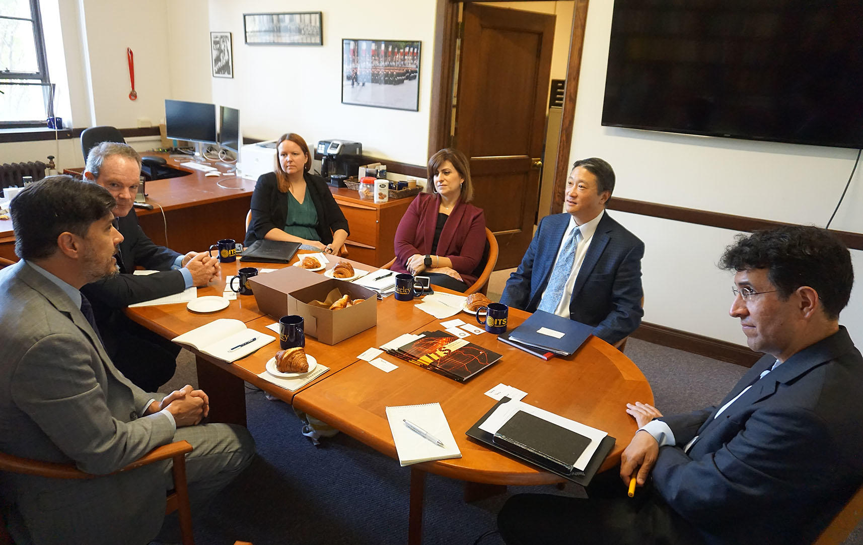 CalSTA Secretary David Kim, Deputy Secretary of Communications, Strategic Planning Melissa Figueroa, Deputy Secretary for Legislation Melanie Perron, met with ITS Director Alexandre Bayen, Associate Director Daniel A. Rodriguez, and PATH Director Tom West