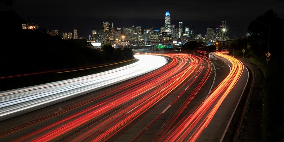 Night traffic stream