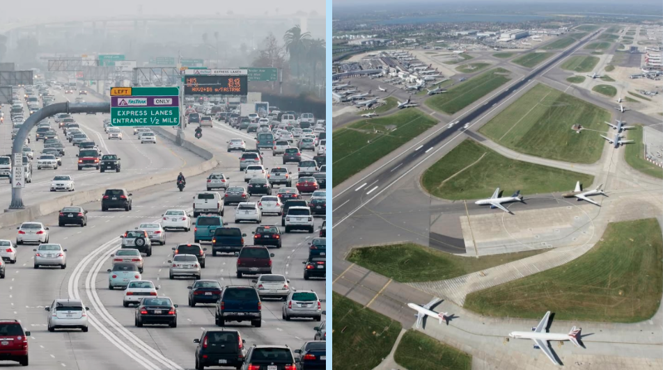 Parallel scenarios between High Occupancy Vehicle (HOV) lanes on US highways and possible separated approaches to airport runways.