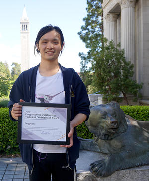 Fangyu Wu with award