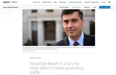 Amazon Science webpage featuring a photo of Alexandre Bayen