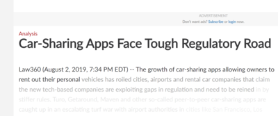 Car-Sharing Apps face tough regulatory road