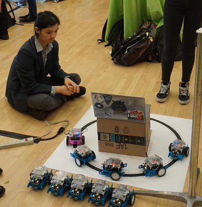 Fangyu Wu operates his autonomous vehicle capstone project