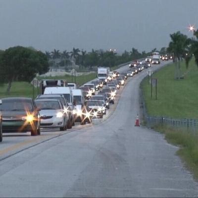 Cars fleeing Hurricane Irma