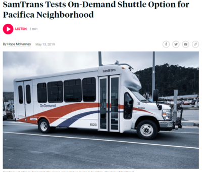 SamTrans tests on Demand shuttle Option for Pacifica Neighborhood