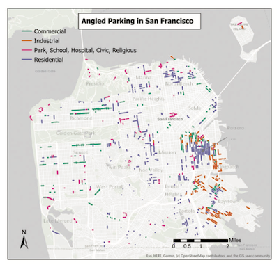 Map of angle parking in San Francisco