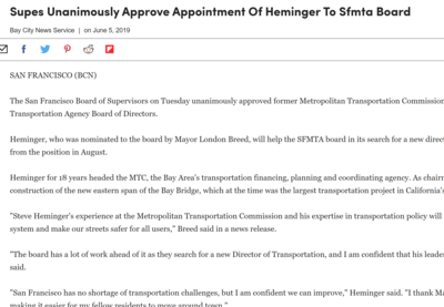 Supes unanimously approve approve appointment of Heminger to SFMTA board