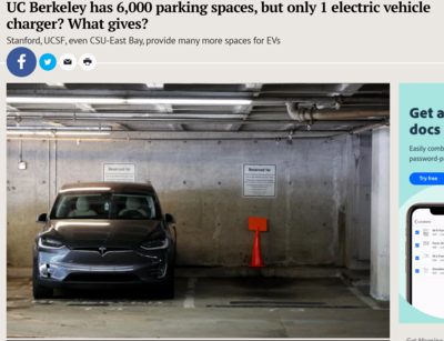UC Berkeley has 6,000 Parking Spaces but only One Electric Vehicle Charger?